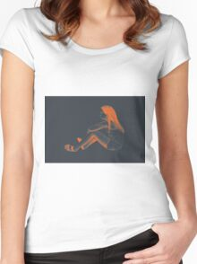 Drawing of child girl sitting and listening. Women's Fitted Scoop T-Shirt