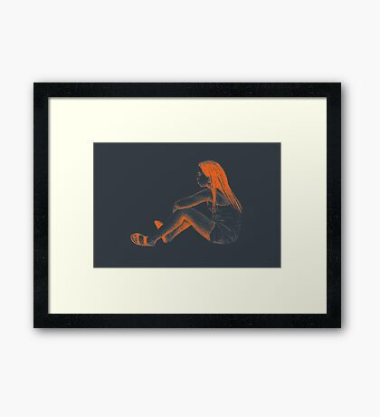 Drawing of child girl sitting and listening. Framed Print
