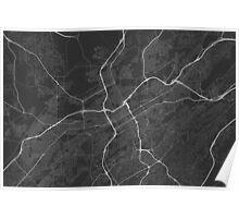Birmingham, USA Map. (White on black) Poster
