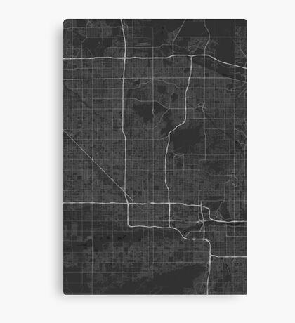 Phoenix, USA Map. (White on black) Canvas Print