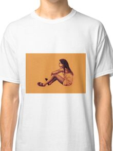 Drawing of child girl sitting and listening. Classic T-Shirt