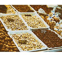 Nuts, Pistachio, Almonds And Peanuts For Sale In Fruit Market Photographic Print