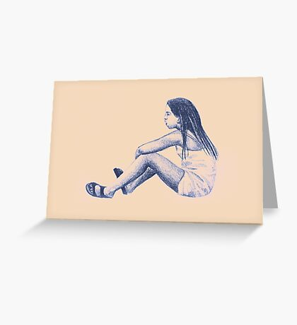 Drawing of child girl sitting and listening. Greeting Card