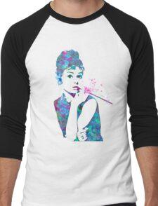 Audrey Hepburn Watercolor Pop Art  Men's Baseball ¾ T-Shirt
