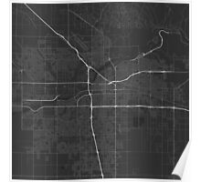 Bakersfield, USA Map. (White on black) Poster