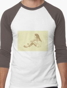 Drawing of child girl sitting and listening. Men's Baseball ¾ T-Shirt