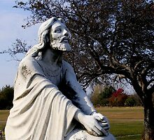 Jesus Kneeling In Prayer by Marie Sharp