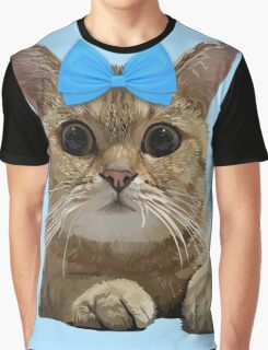Cute Cat with Blue Ribbon Graphic T-Shirt