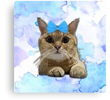 Cute Cat with Blue Ribbon Canvas Print