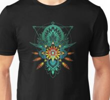 Geometric Triangle Lotus Flower Fire Mandala Unisex T-Shirt