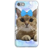 Cute Cat with Blue Ribbon iPhone Case/Skin