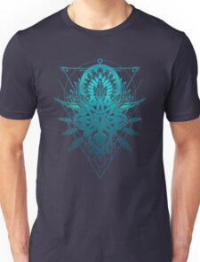 Geometric Triangle Mandala Ornament Lotus Flower (Blue Shades Va Unisex T-Shirt