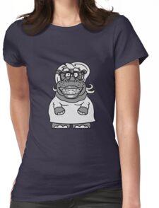 frau weibchen girl mädchen nerd geek schlau hornbrille freak dumm zahnspange lustiges süßes  dickes comic cartoon nilpferd fett hippo  Womens Fitted T-Shirt