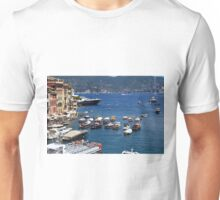 6 August 2016. Photography of the beautiful Portofino fishing village in Italy. View on small bay and colorful houses at town of Portofino in Liguria, Italy. Unisex T-Shirt