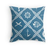 Nautical rope knot pattern with sea objects Throw Pillow