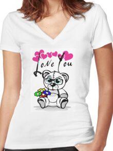 Teddy Love Women's Fitted V-Neck T-Shirt