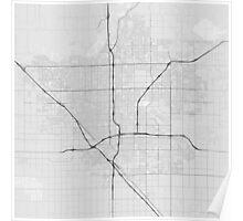 Fresno, USA Map. (Black on white) Poster