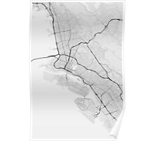 Oakland, USA Map. (Black on white) Poster