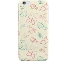 Hand drawn butterflies and ladybugs iPhone Case/Skin