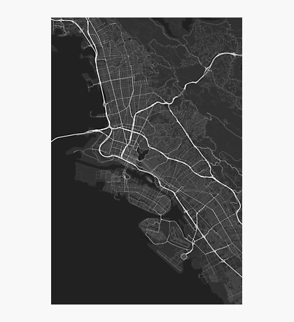 Oakland, USA Map. (White on black) Photographic Print