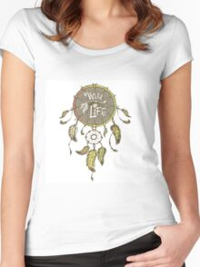 Ethnic dream catcher with feathers Women's Fitted Scoop T-Shirt