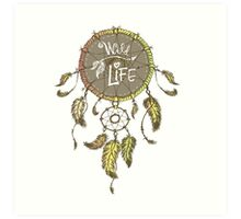 Ethnic dream catcher with feathers Art Print