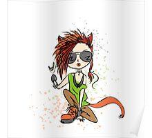 Funny rock girl cat Poster
