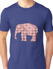 Pink, Gray and Yellow Patterned Elephant Silhouette Unisex T-Shirt