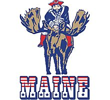 MAINE - Patriot on Mooseback - New England Patriots Photographic Print