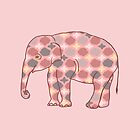 Pink, Gray and Yellow Patterned Elephant Silhouette by ElephantTrunk