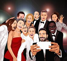 Funny Cute The Oscar Celebrity Photo Selfie On Cartoons by Latifa Salma lufa Poerawidjaja