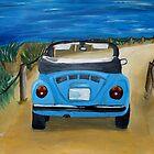 Blue VW bug at beach by artshop77