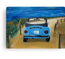 Blue VW bug at beach Canvas Print