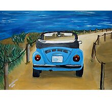 Blue VW bug at beach Photographic Print