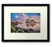 Hut in high mountain at sunset Framed Print