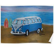 The Vw blue Volkswagen Bulli surfbus  Poster