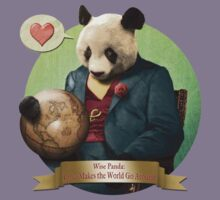 Wise Panda: Love Makes the World Go Around! Kids Tee