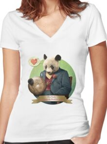 Wise Panda: Love Makes the World Go Around! Women's Fitted V-Neck T-Shirt
