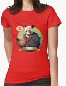 Wise Panda: Love Makes the World Go Around! Womens Fitted T-Shirt