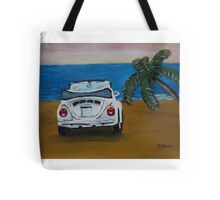 The White Volkswagen Bug At The Beach Tote Bag