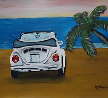 The White Volkswagen Bug At The Beach by artshop77