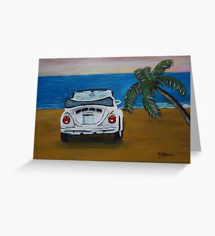 The White Volkswagen Bug At The Beach Greeting Card