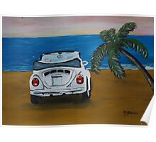 The White Volkswagen Bug At The Beach Poster