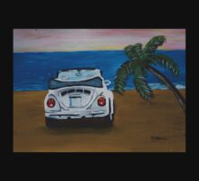 The White Volkswagen Bug At The Beach Kids Clothes