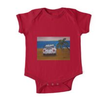 The White Volkswagen Bug At The Beach One Piece - Short Sleeve