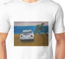 The White Volkswagen Bug At The Beach Unisex T-Shirt