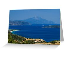 Athon island and beaches in greece Greeting Card