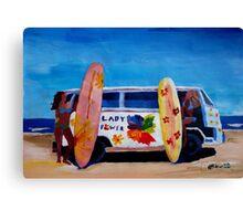 Surf Bus Series - The Lady Flower Power VW Bus Canvas Print