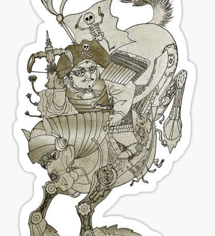 Steampunk Pirate Samurai Riding Iron Horse Sticker