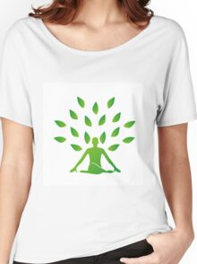 Person meditating under a tree  Women's Relaxed Fit T-Shirt